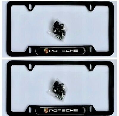 (Set Of 2) License Plate Frame Porsche Plate Frame Black Aluminum