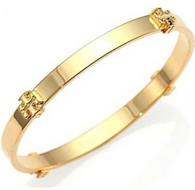 NWT Authentic Tory Burch Logo Bangle Bracelet In Gold Color With Receipt