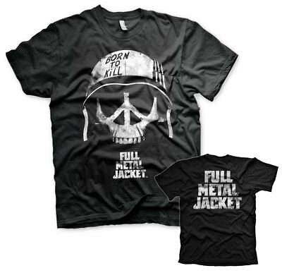 Full Metal Jacket Shirt (Full Metal Jacket Peace Sign Skull Schädel 1987 Film Männer Mens T-Shirt Schwarz)