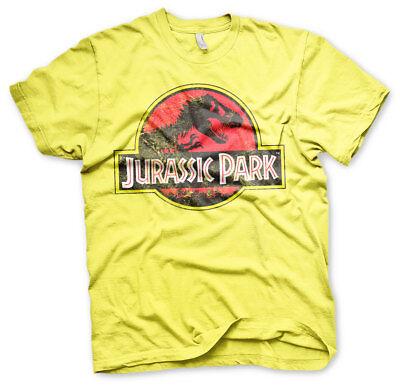 Jurassic Park 1993 Original Distressed Logo T-Rex Männer Men T-Shirt Gelb Yellow ()