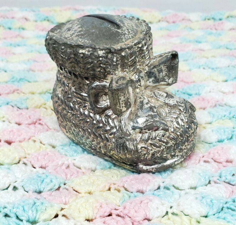 Vintage Silverplated Baby Bootie Coin Bank Nursery Decor