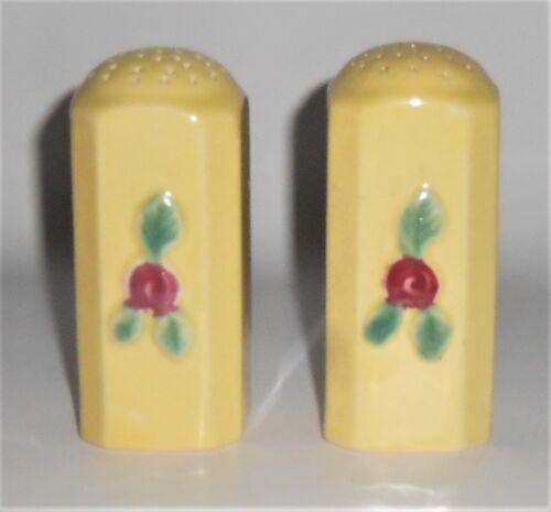 Coors Pottery Rosebud Yellow Straight Salt/Pepper Shaker Set