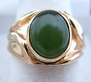 Vintage-14k-Gold-Unisex-Ring-w-Green-JADE-7-7-grams-size-6-5