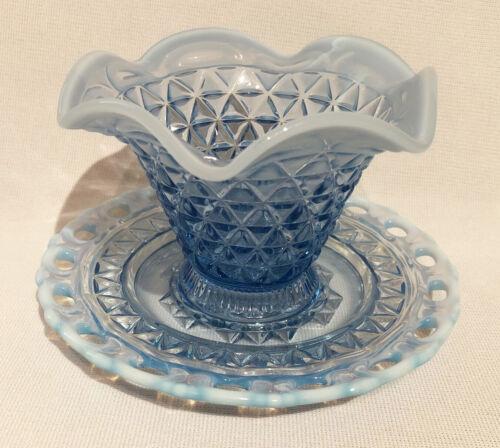 Imperial Glass KATY BLUE LACED EDGE MAYO SET - 2 PIECE  (490W)