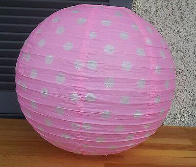 Lampenschirm Lampion Papier Laterne 40cm Schirm Lampe Tupfen Polka Dots Rosa  ()