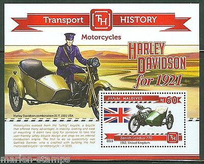 MALDIVES 2015 HISTORY OF TRANSPORT MOTORCYCLES HARLEY DAVIDSON  S/S   MINT NH