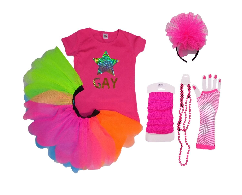 Gay Pride Tutu Skirt Multi Colour Rainbow Flag LGBT Fancy Dress Fun Run Festival