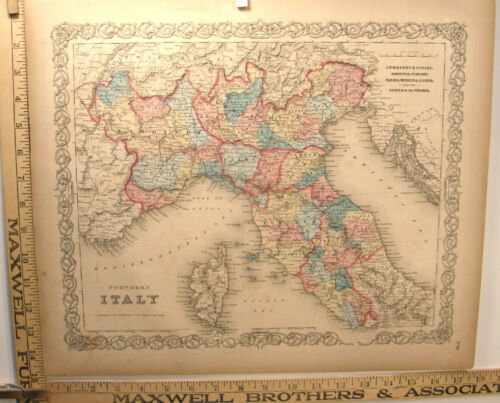 ANTIQUE HAND COLORED ENGRAVING MAP 1859 COLTON