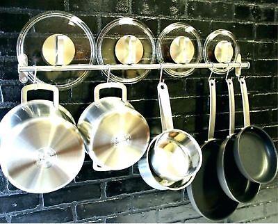 Pot And Pan Rack Hook Holder Hanging Kitchen Organizer Wall Mount Rail (Kitchen Wall Pot Racks)