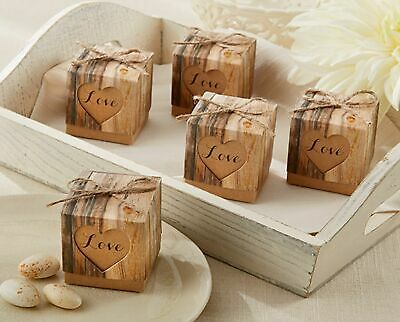24 Rustic Hearts Love Candy Boxes Wedding Bridal Shower Party Favors MW30509 - Rustic Bridal Shower Favors