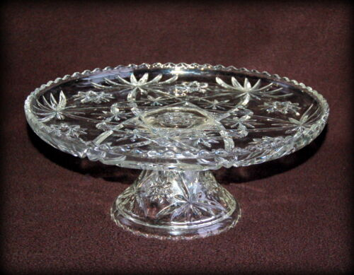 "STAR OF DAVID EAPC ~13"" Footed CAKE STAND / Plate ~ ANCHOR HOCKING ~ EXC"