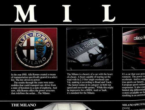 """1986 Alfa Romeo full model line poster; double-side with pics and specs18""""x22"""""""