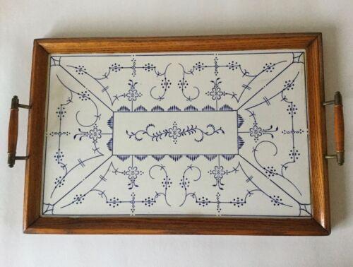 Large Vintage FINLANDIA Style Blue & White Serving TRAY Oak Wood Handles Ceramic