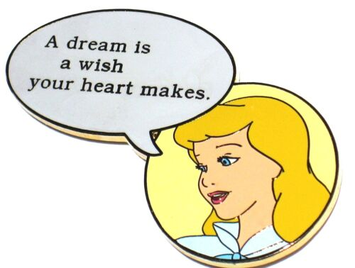 Cinderella LE 100 Disney Auctions Pin Movie Quote Dream Wish Heart Makes RARE!