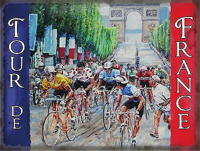 Cycling Tour de France, Cycle Racing Arch Classic Small Metal/Tin Sign, Picture