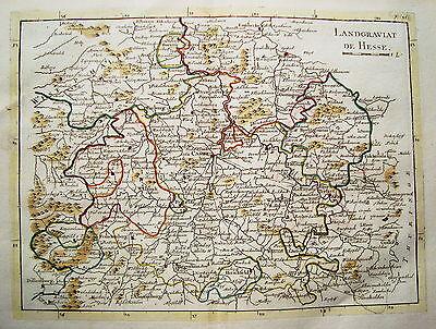Kassel Fritzlar Warburg Korbach  Höxter  seltener Kupferstich Landkarte 1757