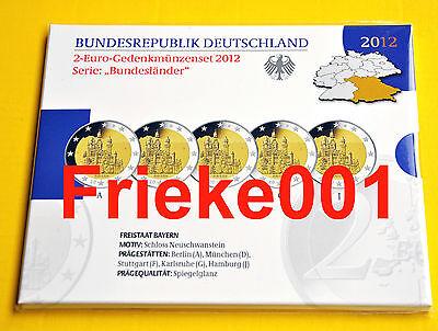 Duitsland - Allemagne - 5x 2 euro 2012 comm in blister proof.(Neuschwanstein)