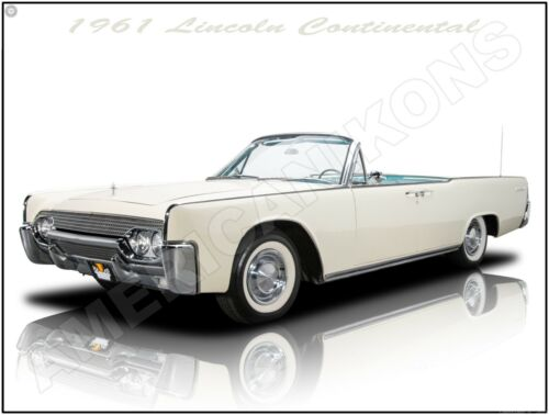 1961 Lincoln Continental Convertible New Metal Sign: Fully Restored