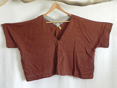 Free People Extra OVER-SIZED/ Boxy Top Pullover Cotton Blend V-Neck Size L