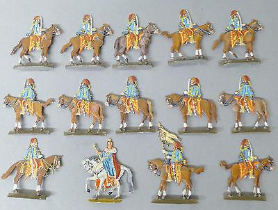 14 Zinnfiguren  ca 4,5 cm Soldaten + Königin  Flachfiguren @ blaue Uniform # 31 ()