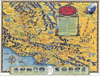 1935 PICTORIAL Map Edison Electrical Service System California POSTER 9525002