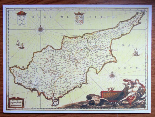 MAP  COLLECTABLE REPRODUCTION MAP ON CARD OF MEDIEVAL  CYPRUS  IDEAL FOR FRAMING
