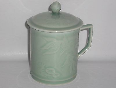 Oriental Celadon Style Glazed Mug With Cover. Underglaze Decoration