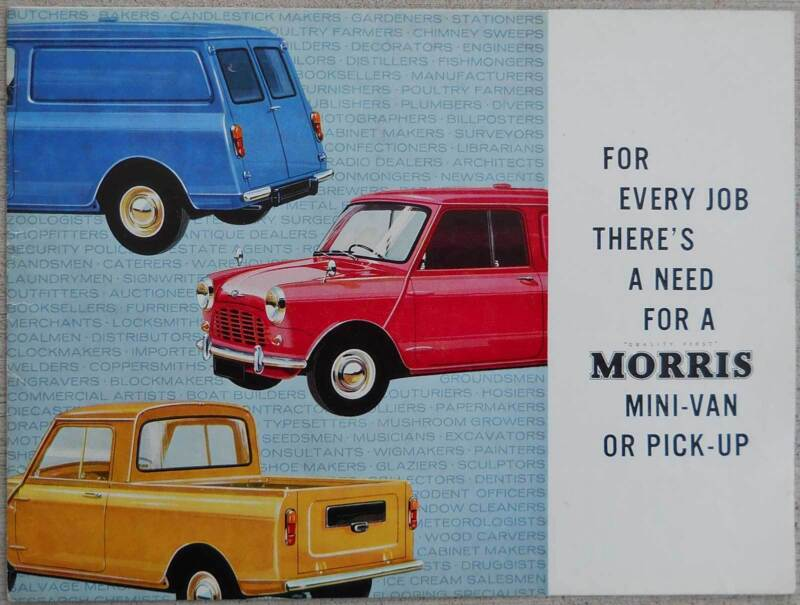 Morris Mini Van & pick-up fold out 1967 brochure