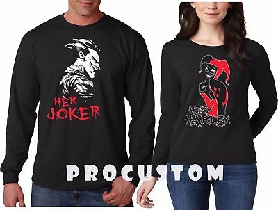 Her Joker His Harley Halloween couple matching funny cute Long Sleeve T-Shirts