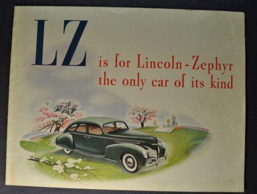 1939 Lincoln Zephyr Catalog Sales Brochure Excellent Original 39