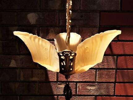 Vintage art deco slip shade chandelier