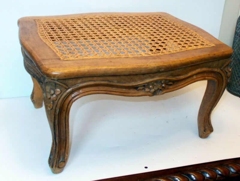 Antique FRENCH LOUIS XV Hand Carved FOOTSTOOL Flowers CABRIOLE LEGS Caned Top