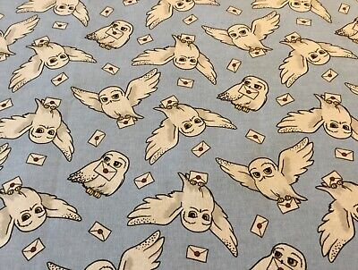 Harry Potter Hedwig Owl and letters on blue Fabric Fat Quarter 46 x 56cm sewing
