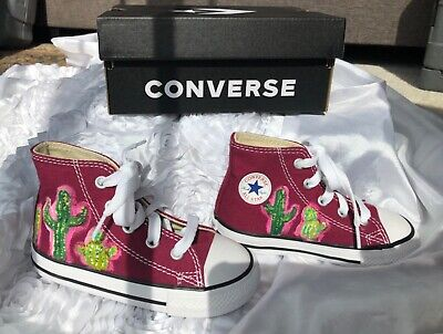 Hand painted cactus baby/infant converse shoes size 7 (Cactus Converse)