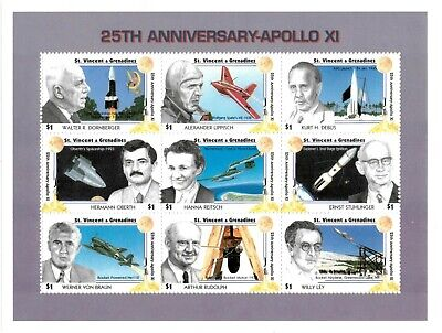 St. Vincent 1994 SC# 2081 Apollo Anniversary, Space - Sheet of 9 Stamps - MNH