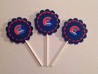 Ny Giants Birthday (Nfl New York Giants Cupcake Toppers Birthday Anniver Party Supplies Handmade)