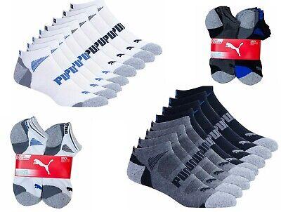 Puma Men's No Show Low Cut Ankle Socks, 8-pair Select Black White Color and Size