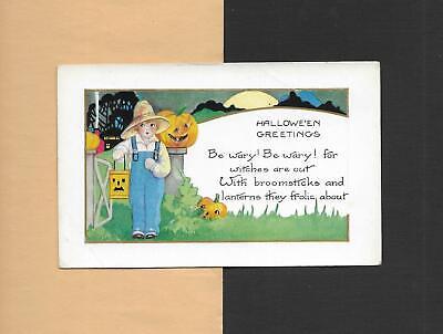 BOY HOLDS JACK 'O-LANTERN Colorful Vintage Unused Art Deco HALLOWEEN Postcard