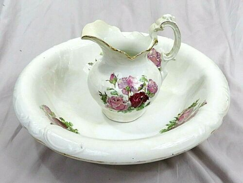 Antique Etruria Mellor & Co. Ceramic Ironstone Pitcher & Basin ~ Gold Trim Roses