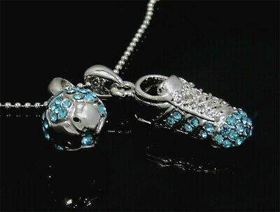 SOCCER BALL SHOE CRYSTAL CHARM PENDANT AQUA SILVER NECKLACE NWT
