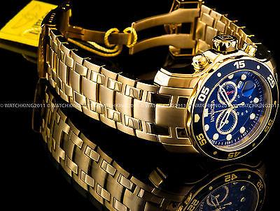New Invicta Pro Diver Scuba 18K Gold Plated Blue Dial Chrono S.S Bracelet - Blue Bracelet Watch