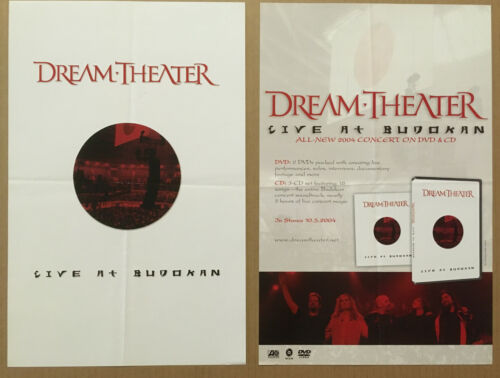 DREAM THEATER Rare 2004 DOUBLE SIDED PROMO POSTER w/DATE 4 Live CD NEVER DISPLAY