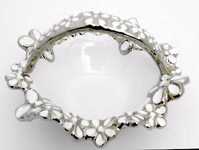Elegant ceramic silver & white flower basket/ Gift / Home decorative