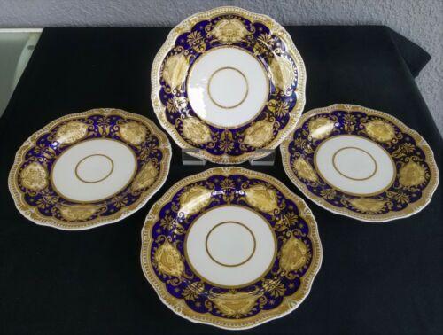 """4 Gorgeous Antique Cobalt Blue & Gold English Wide Rim Soup Bowls 9"""" Plates"""
