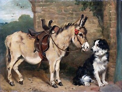 JOHN EMMS, Burro and the Dog, Donkey, antique, Americana decor, Farm, ART (Antiques And The Arts)