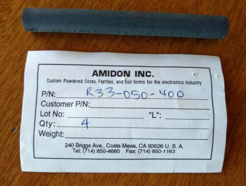 "Amidon R33-050-400 Ferrite Rod 4.0"" Long 0.5"" Diam"