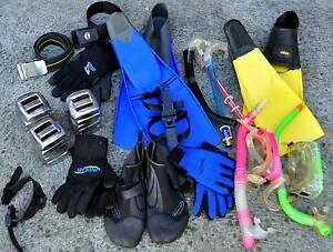 Diving spearfishing.  Weight belt snorkels camo wetsuit scuba Hampton Bayside Area Preview
