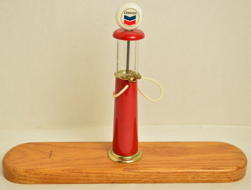 Mini Chevron Gas Pump Vintage  8 Inches Tall - Mounted on Wood