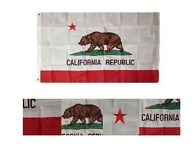 Nylon California State Flag - 3x5 Embroidered Sewn California State 300D Nylon Flag 3'x5'