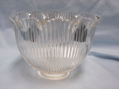 Vintage Haskins Clear Glass Light Shade w/crimped edging & Prismatic Rib Design